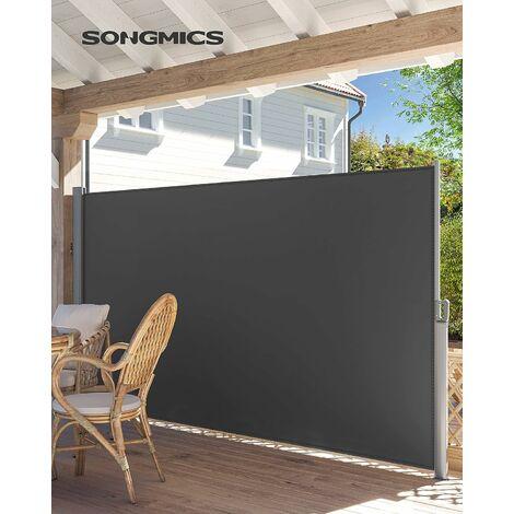 Store latéral 350 x 180cm Abri soleil Paravent extérieur rétractable 280g/m² polyester Beige et Gris au choix