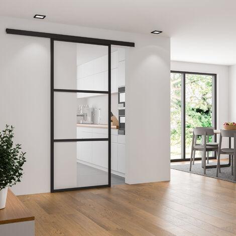 Porte intérieure coulissante en verre, 102 x 220 cm, décor industriel