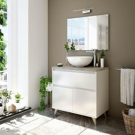 Mobile bagno a terra 80 cm Bianco lucido e Rovere con Lavabo a ciotola