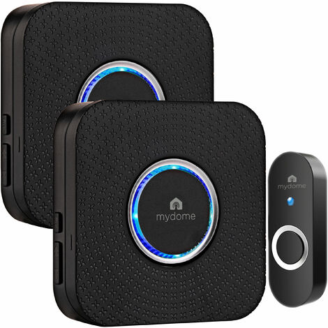 Mydome Wireless Doorbell | Plugin Chime Kit, Designed for UK Homes with Solid Walls, Built for The UK Weather, Clear Audio & Visual Notification (Midnight Square II)