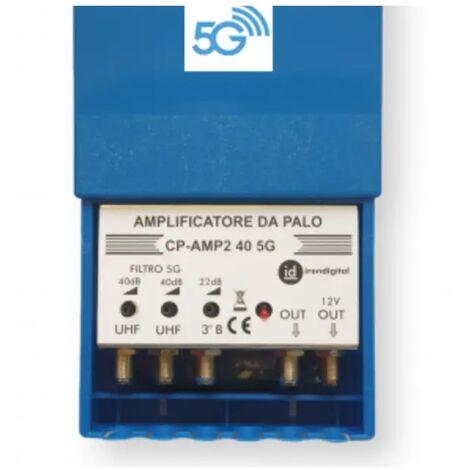 amplificatore antenna tv palo digitale terrestre 2 uhf 40db 1 vhf regolabile 12 volt CE var 16015