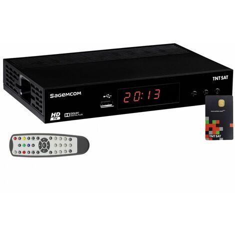 SAGEMCOM Récepteur TV Satellite HD + Carte d'accès TNTSAT V6 Astra 19.2E - Noir