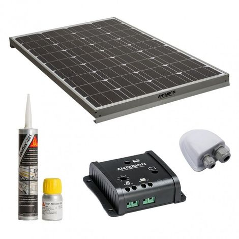 ANTARION Kit complet panneau solaire 120W Haute performance camping car