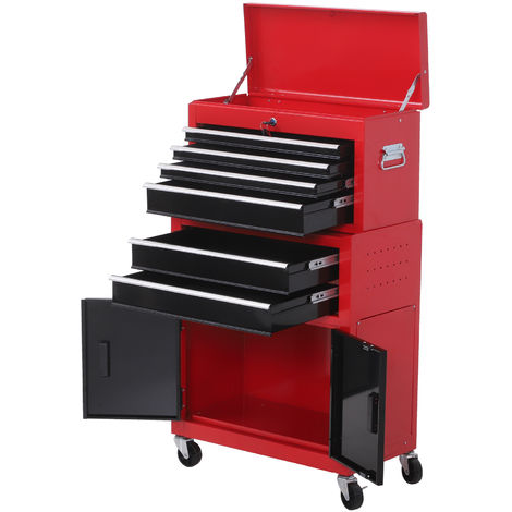 Servante d'atelier servante/ caisse à outil 6 tiroir +1 commode coffre amovible chariot acier rouge et noir - Rouge