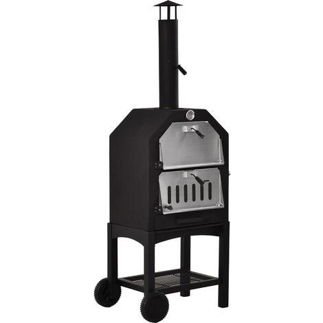 Four à pizza extérieur au charbon de bois - barbecue sur roulettes - Four à bois - pierre réfractaire - cheminée, jauge température - acier inox.noir gris
