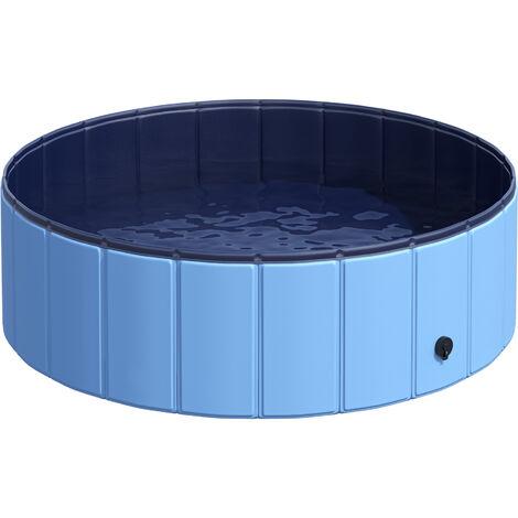 Piscine pour chien bassin PVC pliable anti-glissant facile à nettoyer diamètre 100 cm hauteur 30 cm bleu