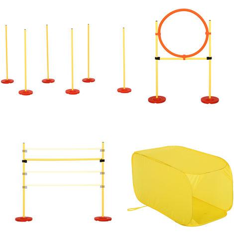 Agility sport pour chiens équipement complet haies, slalom, tunnel + sac de transport jaune