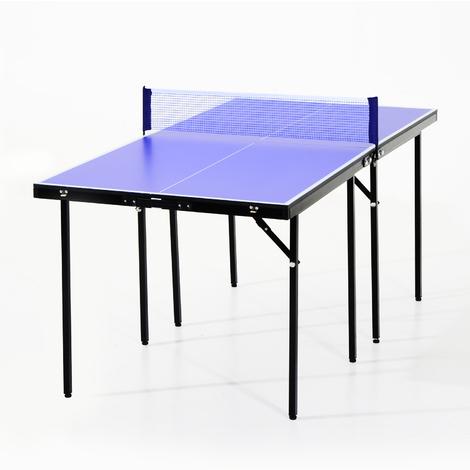 Mini table de ping pong tennis de table pliable portable acier 153L x 77l x 67H cm bleu et noir