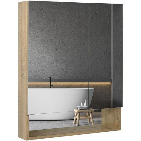 Armoire miroir rangement salle de bain meuble mural bois massif dim. 65L x 13l x H80 cm