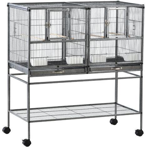 Cage à oiseaux avec séparation mangeoire et perchoir 95L x 45l x 102H cm Noir et Gris