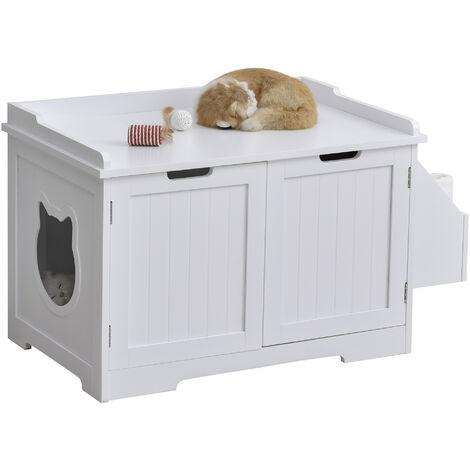 Maison de toilette pour chat design entrée tête chat 2 portes rangement latéral et plateau MDF blanc