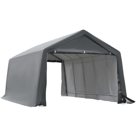 Tente garage carport dim. 6L x 3,6l x 2,75H m acier galvanisé robuste PE haute densité 195 g/m² imperméable anti-UV blanc gris