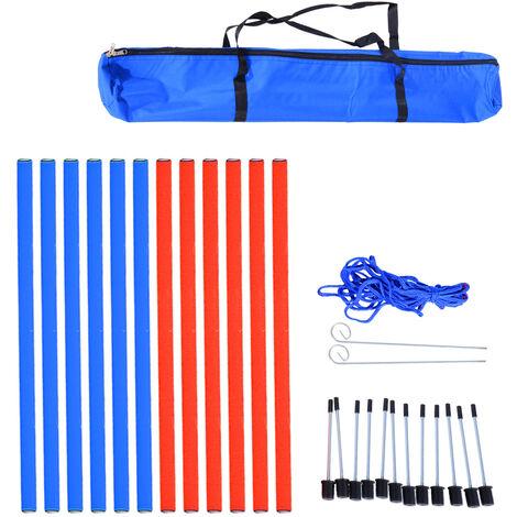 Agility sport pour chien slalom - slalom pour chien - lot de 12 poteaux + ancrage sol - sac de transport inclus rouge bleu