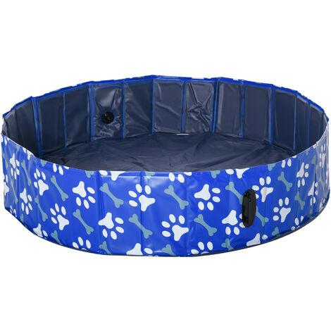 Piscine pour chien bassin PVC pliable anti-glissant facile à nettoyer Ø 1,4 m hauteur 30 cm motifs os pattes bleu