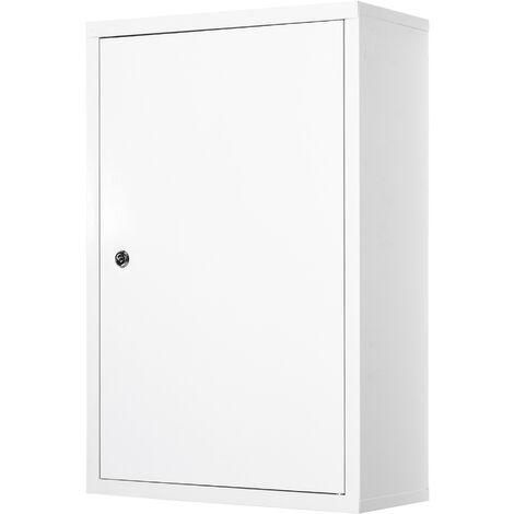 Armoire à pharmacie 2 étagères 3 niveaux verrouillable dim. 40L x 18l x 60H cm 2 clés métal blanc