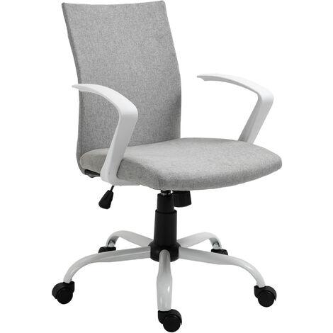 Vinsetto Chaise de bureau ergonomique hauteur réglable pivotante 360° piètement acier blanc lin gris clair