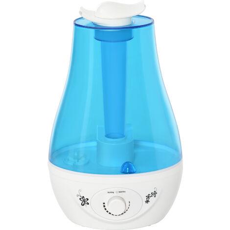 Humidificateur d'air maison portable réservoir d'eau de 3L arrêt automatique double buse à 360 degrés bleu et blanc