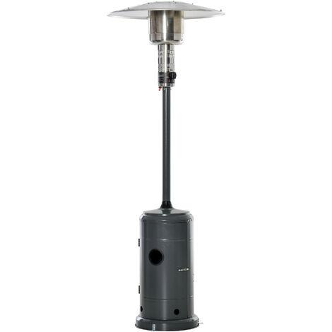Parasol chauffant commercial 12,5 kW - chauffage d'extérieur gaz - chauffage de terrasse - double sécurité - puissance réglable - roulettes - acier inox. gris