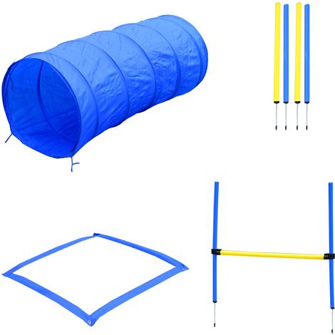 Agility sport pour chiens équipement complet obstacles, tunnel, slalom, zone repos + 2 sacs de transport bleu jaune
