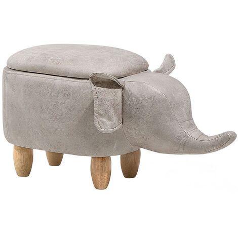 Faux Leather Storage Animal Stool Light Grey ELEPHANT