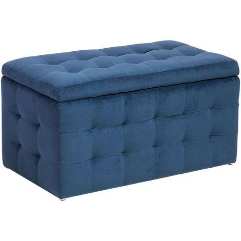 Velvet Fabric Storage Ottoman Dark Blue MICHIGAN