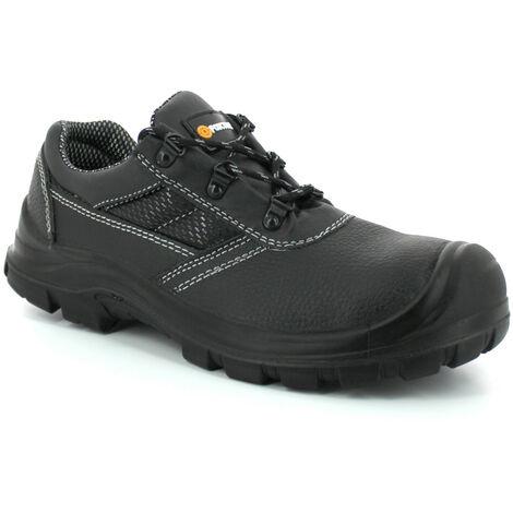 Foxter - Chaussures de sécurité | Mixte : Hommes et Femmes | Basses | Respirantes | Imperméable | Cuir Noir | S3 SRC