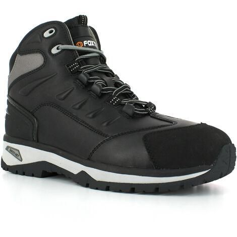 Foxter - Chaussures de sécurité | Hommes | Montantes | Baskets de Travail | Légères et Respirantes | SafetyKey : Grand Confort | Imperméable | Cuir Noir | S3 SRC HRO