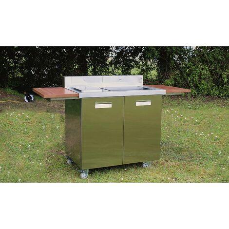 GREADEN Grill Barbecue électrique d'extérieur pour Jardin Terrasses Pique-Nique, BBQ en INOX Plaque Teppanyaki antiadhésive, température réglable