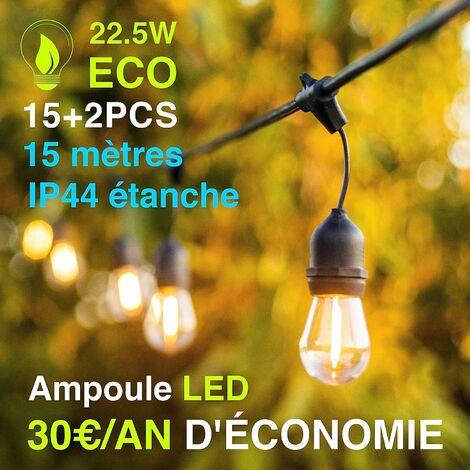 Guirlande lumineuse extérieur 15+2 ampoules offertes 15 m guirlande guinguette étanche pour Noel Taverne Jardin Fête Classe énergétique A+