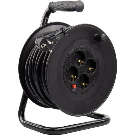 Carrete Alargador de Cable 25m Liso 3x1.5 mm Negro - Negro
