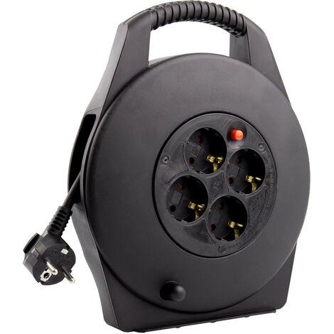 Carrete Alargador de Cable 10m 3x1.5 mm Negro - Negro