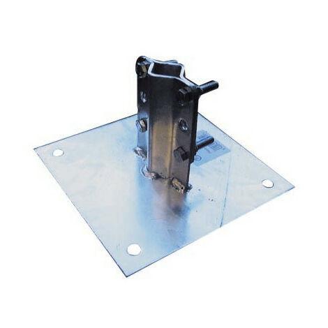 Fixation plaque de base acier galva pour mât diam. 25-50 mm