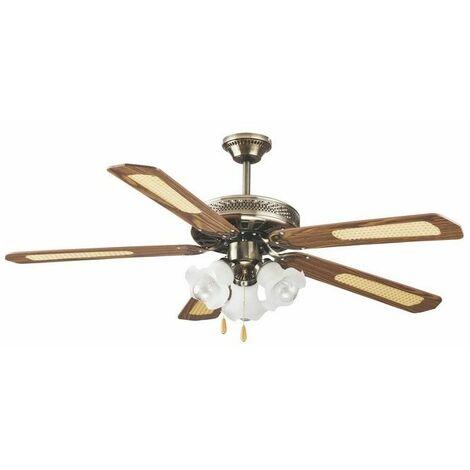 Ventilatore Soffitto 5 Pale D130 Cm 3 Luci Marrone