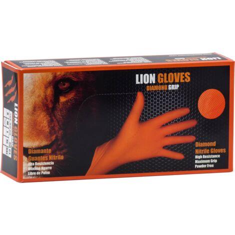 Caja 50 guantes Nitrilo Diamantado Lion Naranja