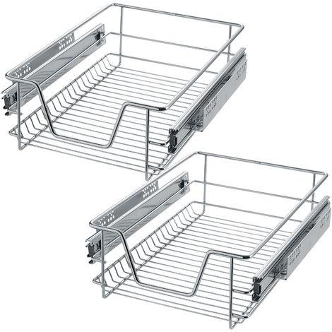 2 tiroirs de rangement téléscopiques - lot de 2 tiroirs, tiroirs coulissants cuisine, paniers coulissants cuisine