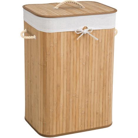 Panier à linge bambou rectangulaire