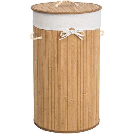 Panier à Linge 57 L en Bambou Ø 36 cm x 63 cm Marron Clair + Sac à Linge Sale