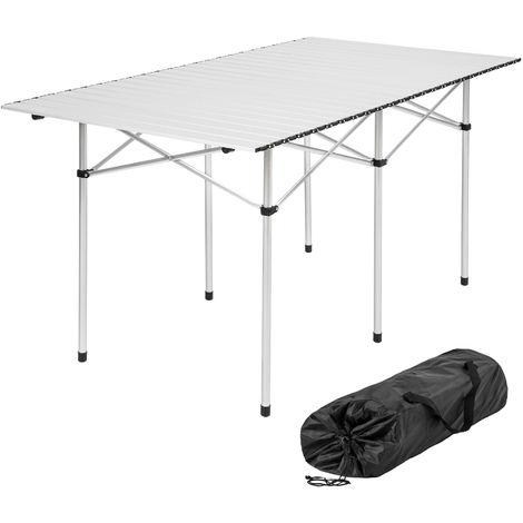 Table pliante de Camping 4 à 6 places 140 cm x 70 cm x 70 cm en Aluminium + Sac de transport