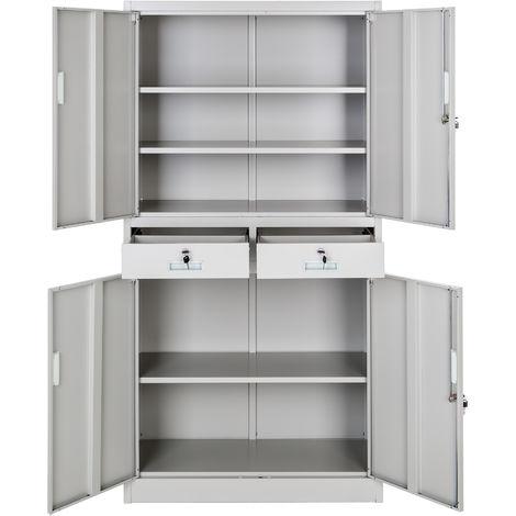 Armoire métallique 2 compartiments + 2 tiroirs