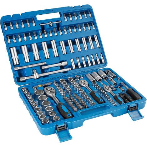 Boîte à Outils 171 Pièces (Douilles + Outils à Cliquet) en Acier Chrome Vanadium Bleu