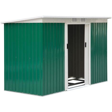 Outsunny Caseta de Jardín Cobertizo Metálico para Almacenamiento de Herramientas con Base - Verde