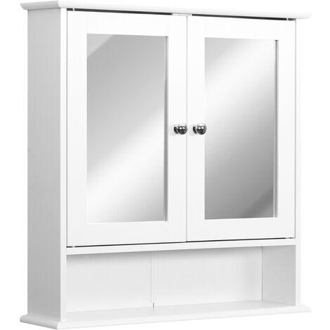 kleankin Armario de Baño con Espejo de Pared con 2 Puertas Blanco 56x13x58cm