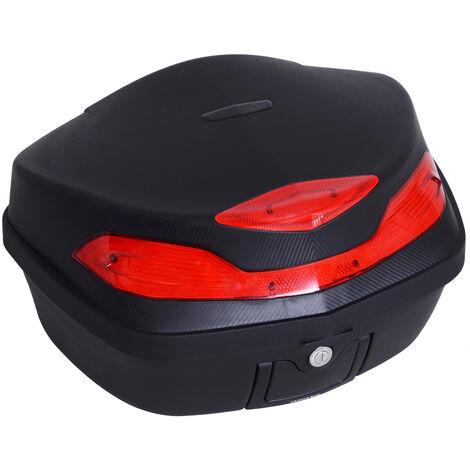 HOMCOM Baúl Moto Universal 48L + Llaves y Accesorios Equipaje Caja de Moto Topcase - negro y rojo