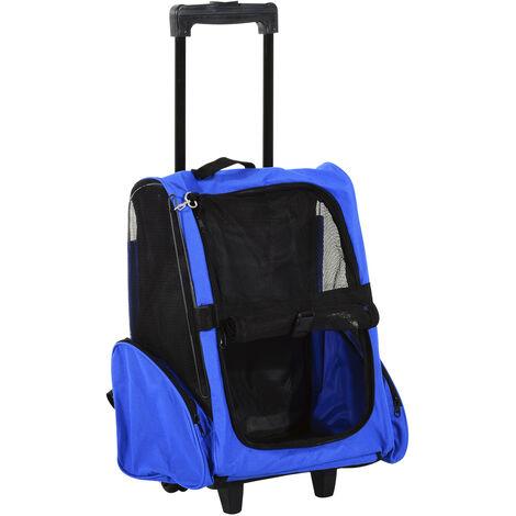 PawHut Transportin Carrito Perro 2 en 1 Mochila Carrito 42x25x55 cm Mascotas Azul - Azul