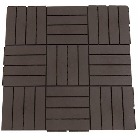 Outsunny Baldosas Cuadradas para Suelos 30x30 Paquete de 9 Piezas Cubre 0.81 m² Marrón