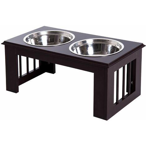 PawHut Comedero Elevado para Perros con Soporte y 2 Cuencos Extraíbles Acero Inoxidable - Café Oscuro