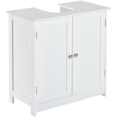 HOMCOM Mueble Armario para Debajo del Lavabo con 2 Puertas para Cuarto de Baño o WC - Blanco
