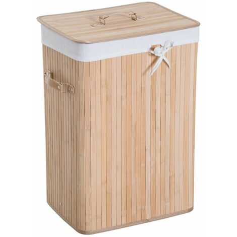 HOMCOM Cesto para Ropa Sucia Plegable con Tapa Cubo para Colada Rectangular Bambú 70L - Bambú