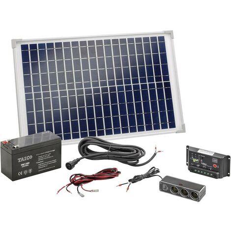 Esotec Poly 120005 Kit energia solare 20 Wp Batteria ricaricabile incl., Cavo di collegamento incl., Regolatore di cari