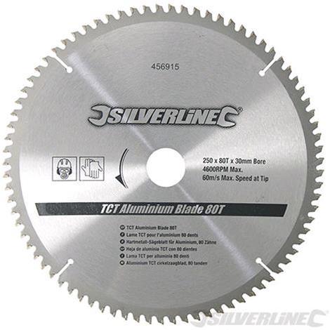 Silverline Lama TCT per alluminio 80 denti 250 x 30 mm